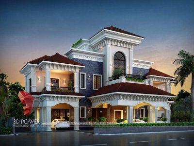 exterior-design-rendering-bungalow-traditional-3d-walkthrough-animation-studio-night-view-pune