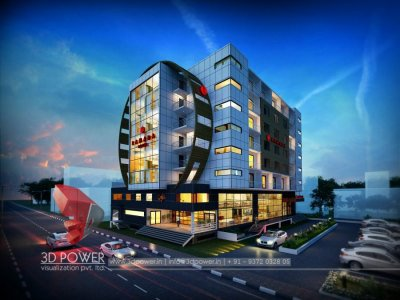 hotel exterior night view 3d rendering visualization