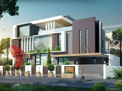 impressive 3d archtectural rendering design for bungalow day view