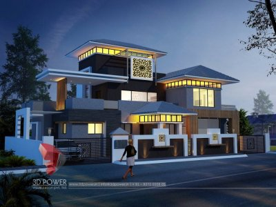 impressive 3d exterior rendering night visualization bungalow with photo realistic effect in india