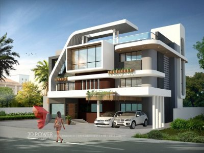 impressive bungalow nice white color 3d exterior architectural rendering day view