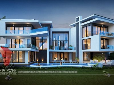 impressive high class bungalow landscape rendering 3d exterior night visualization