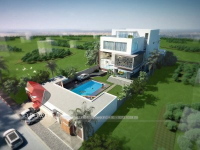 lavish high class bungalow architectural rendering visualization 3d bird eye view