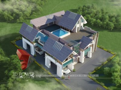 lavish villa 3d elevation rendering visualization view
