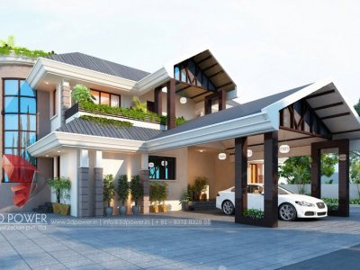 modern-design-bungalow-3d-architectural-design-studio-pune-evening-view-top-architectural-rendering-services