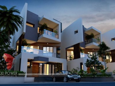 row house exterior night view architectural 3d rendering