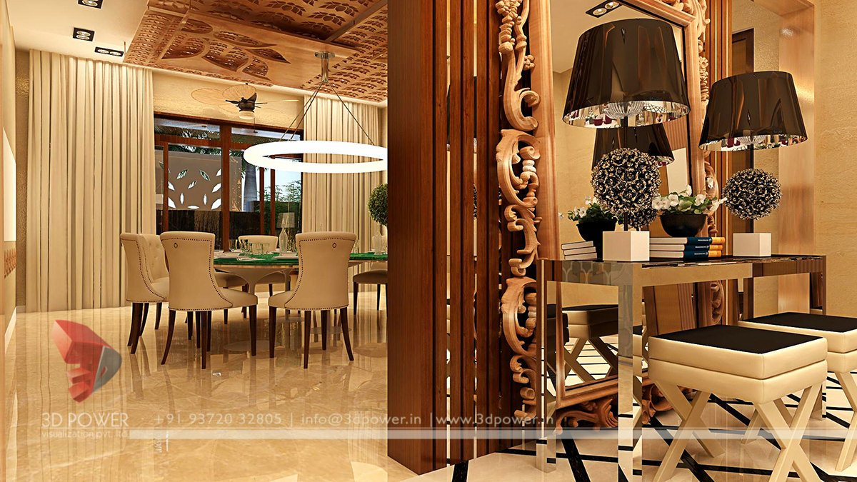 3D Design Interior Visualization Rendering Dining Room Architectural