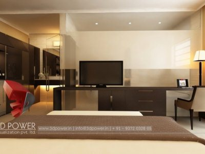 3D Bedroom Rendering Interior