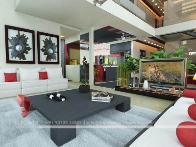 3D Living Room Architectural Interior