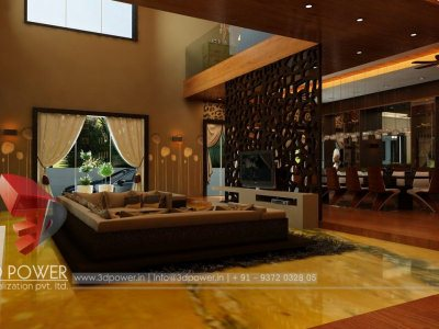 3D Living Room Rendering Interior