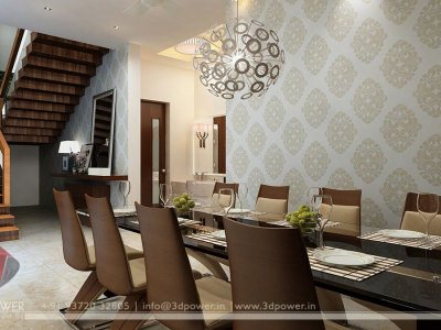 Dining Room Interior Night View