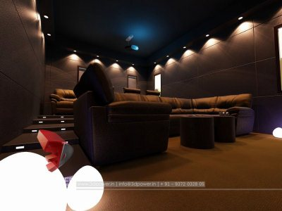 Interior Rendering Home Theater