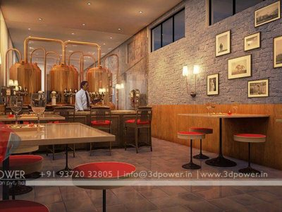 Rendering Interior Hotel Bar