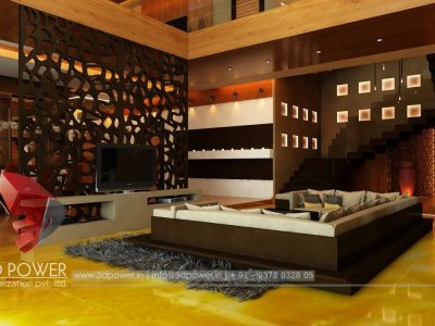 awesome living room attach dining hall with stairs 3d interior rendering visualization in bungalow