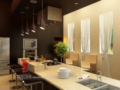 house breakfast oepn area in kitchen interior 3d rendering designing