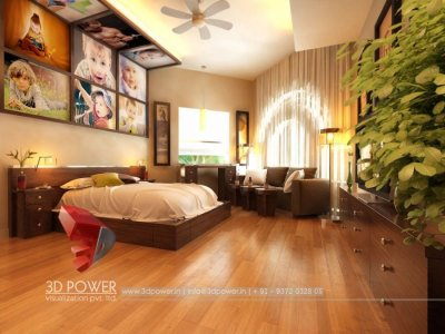 impressive high class bedroom with childrens photos wall interior visualization 3d rendering design view