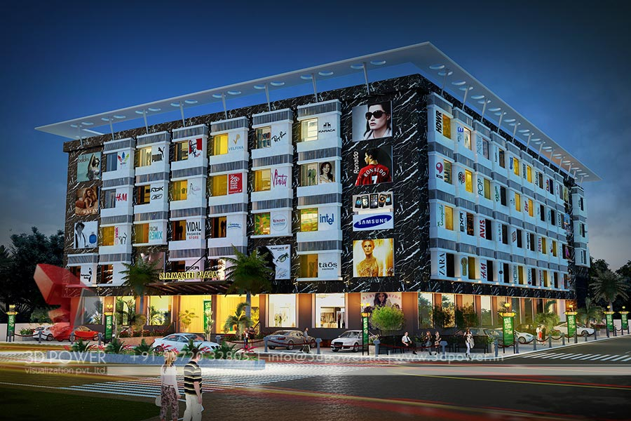 Architectural visualization mall hyderabad 3d power for Shopping mall exterior design