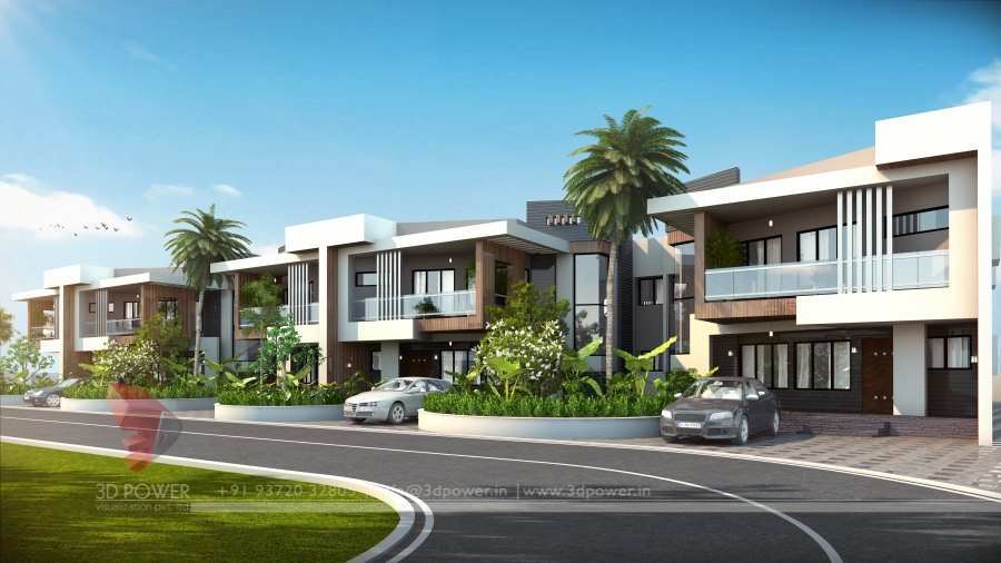 Township company raichur 3d power for Best row house design