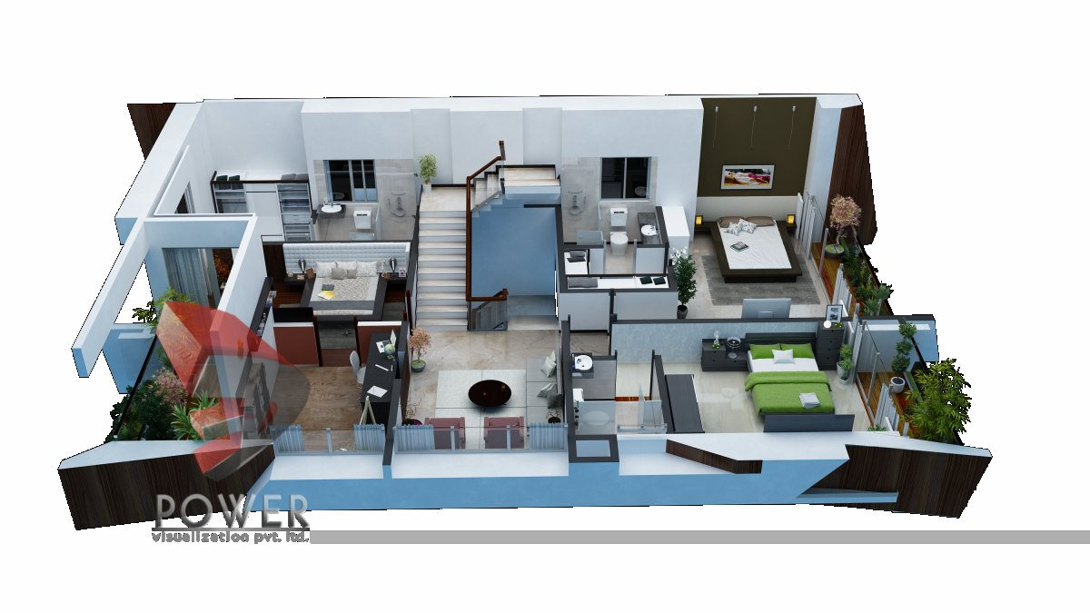 High class architectural visualization goa 3d power for Turn floor plan into 3d model