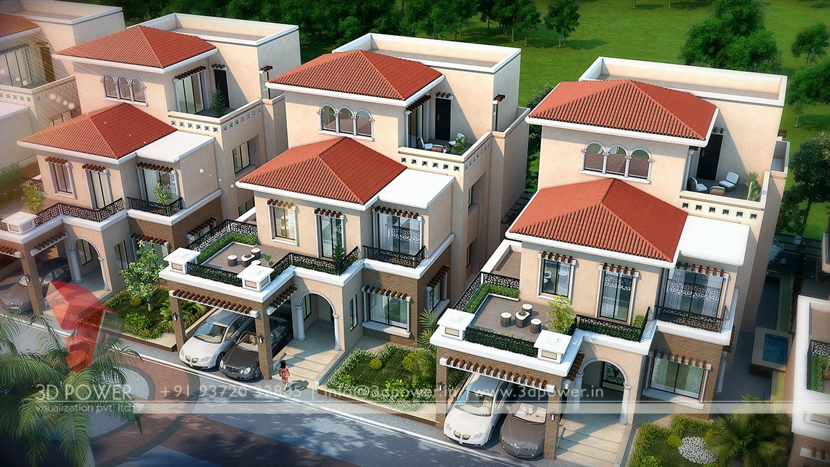 High quality visualization vishakhapatanam 3d power for Best row house designs