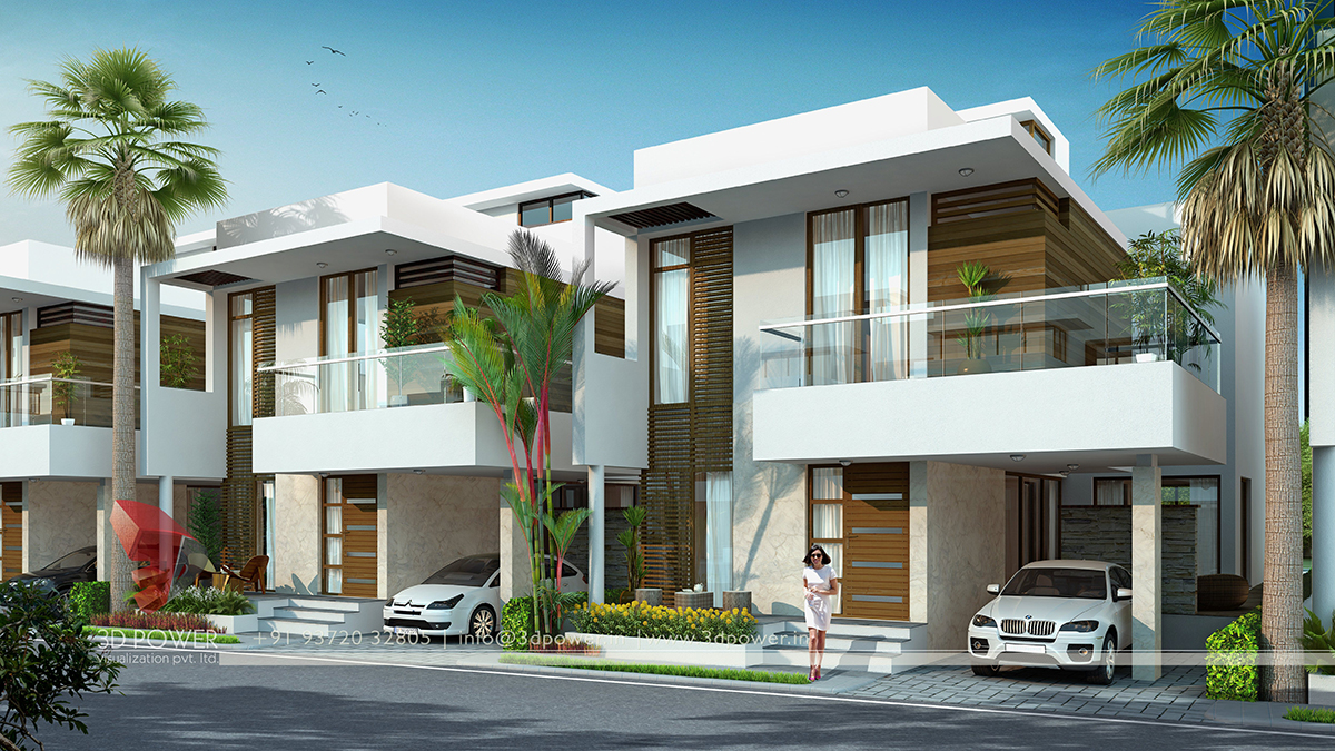 Front Elevation Of Row Houses : Architectural visualization apartment udaipur d power