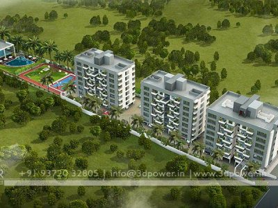3D Architectural Township Bird Eye View