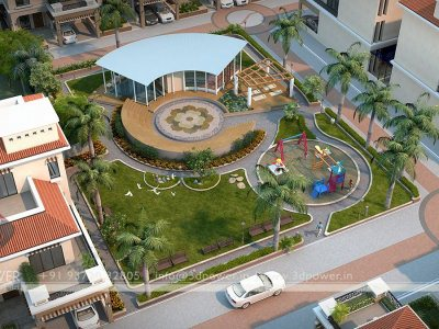 3D Township Bird Eye View