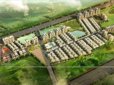 3D Township Visualization Bird Eye View