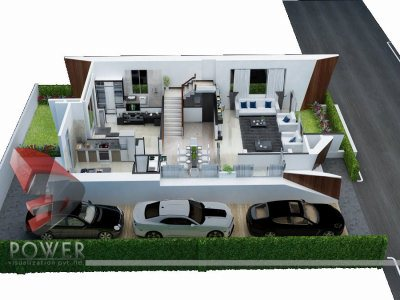 Cut Section Rendering Villa