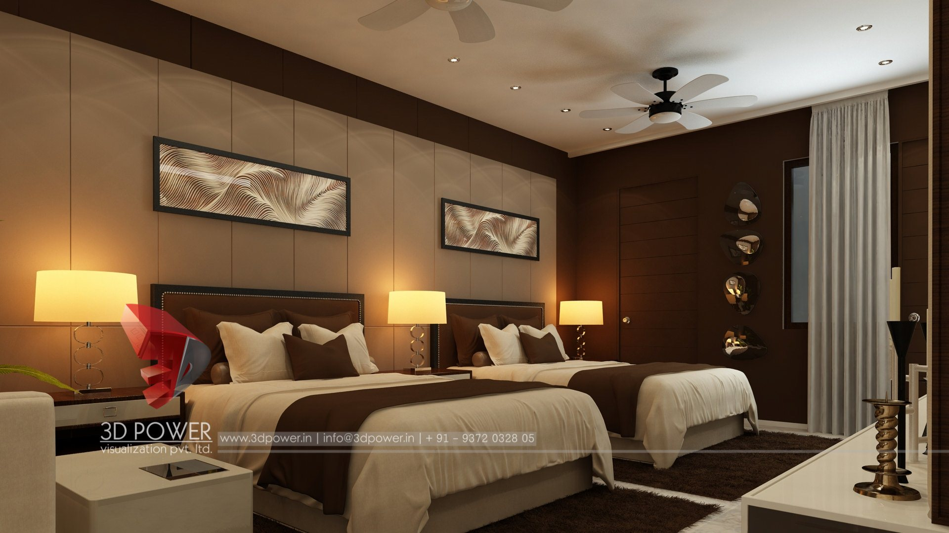 3d interior rendering service 3d power for Full bedroom interior design