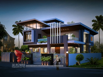 high-class-bungalow-architectural-visualization-night-view