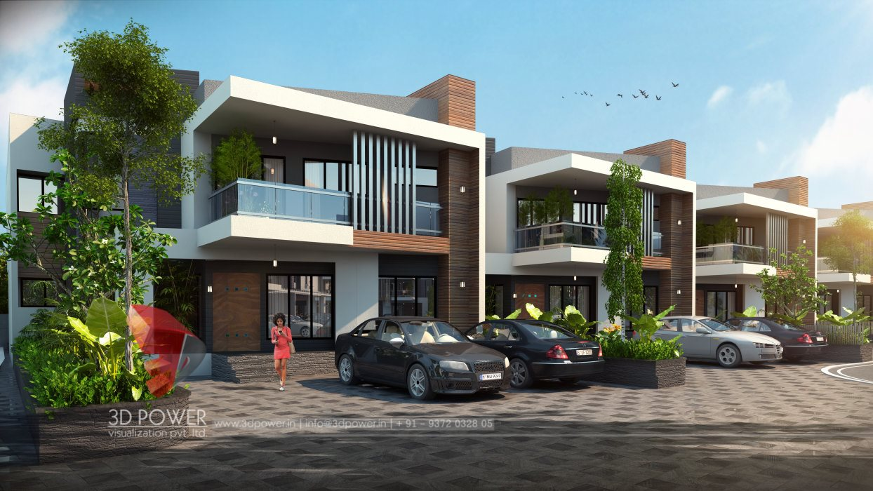 Modern 3d township rendering and elevation 3d power for Exterior 3d design