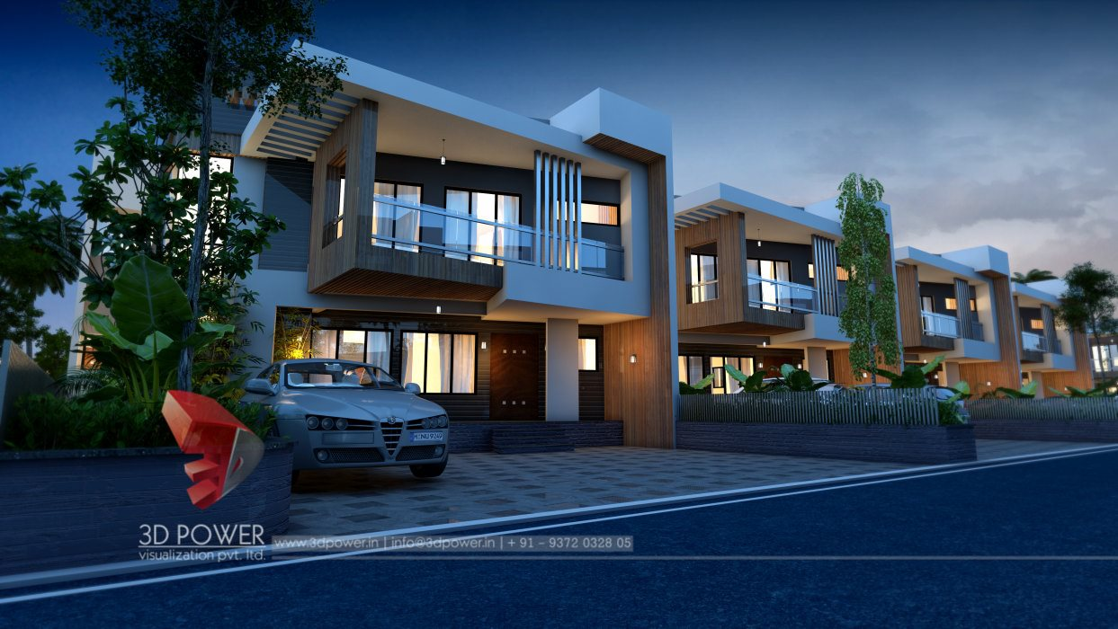 Front Elevation Row Houses : Modern d township rendering and elevation power