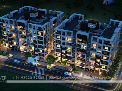 3d Architectural Row Bungalow Design Night View