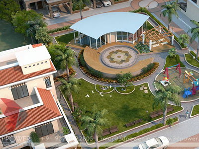3d Architectural Township Design Birds Eye View