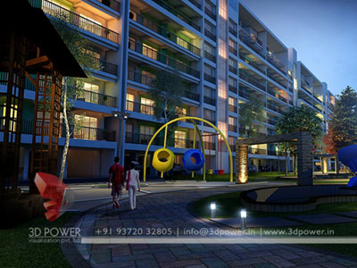 Night View Apartment Rendering