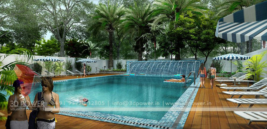 3d township architectural design rendering contemporary for Swimming pool 3d design