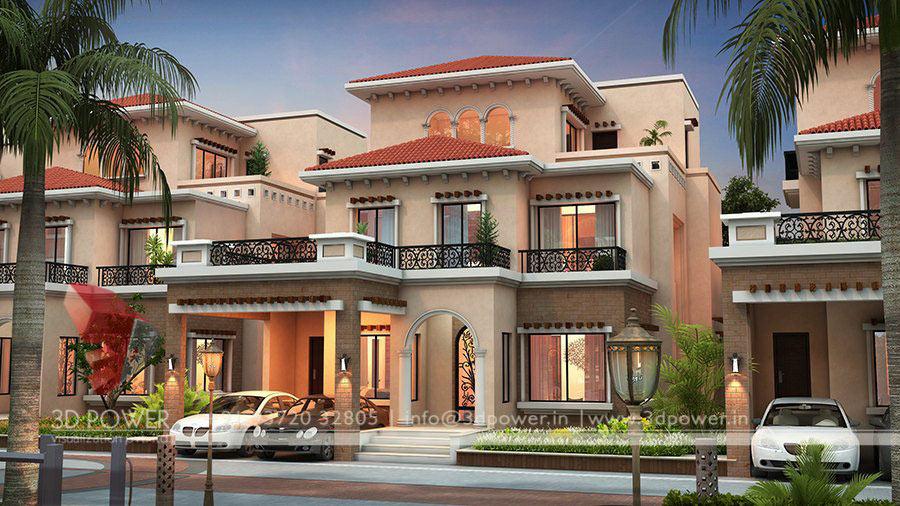 Row House Design 3D View