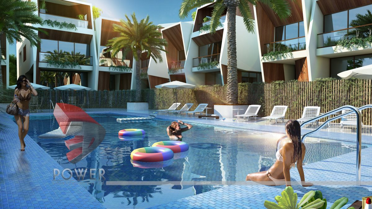 3d township architectural design rendering contemporary for Pool design 3d