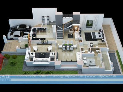 3d Township Architectural Design Rendering Contemporary